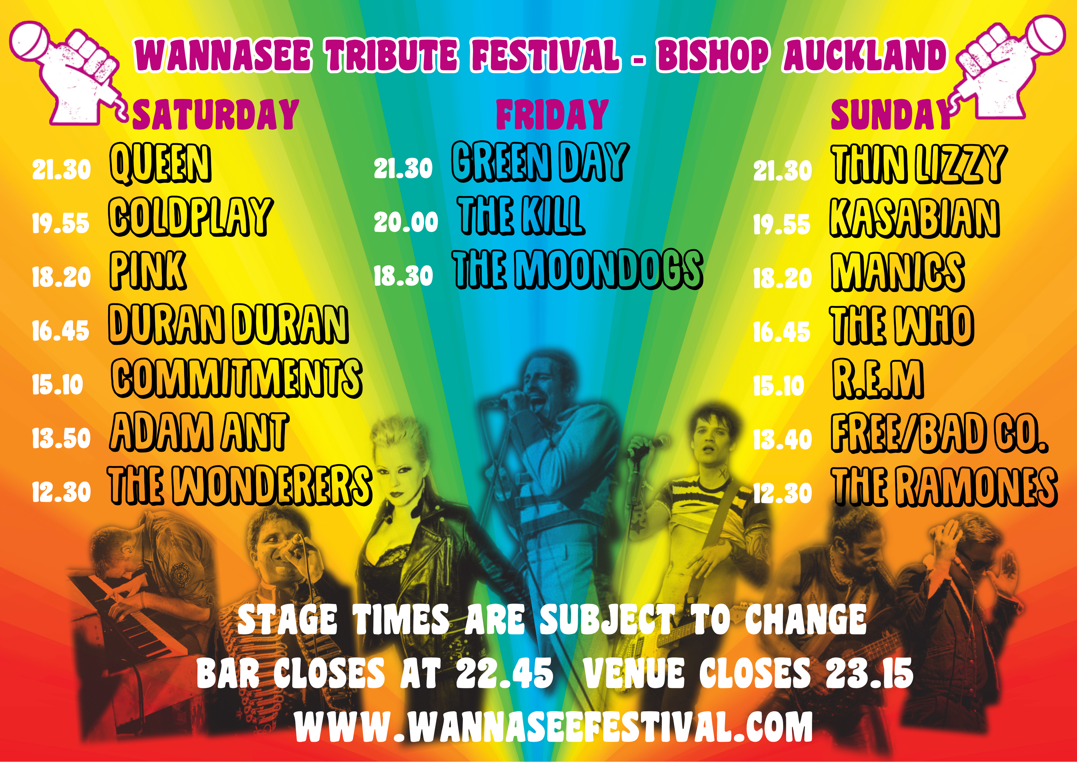 CLICK HERE FOR ON STAGE BAND TIMES